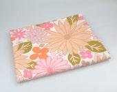 Vintage fabric, fat quarter, pink, olive green and orange floral, uk seller