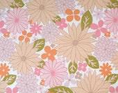 Vintage cotton fabric,  Fat quarter, Pink, orange and olive green, Uk seller