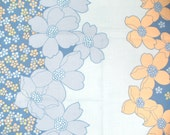 Vintage fabric fat quarter blue and orange floral UK seller