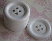 Four White Big Large Size Buttons uk seller