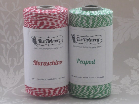 Maraschino and Peapod Bakers Twine 30 yards (15 yards each colour) uk seller