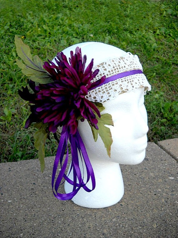 Flapper Purple Surprise Fascinator  headband