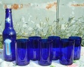 Blue Beer Bottle Tumblers Repurposed by Garden Daisies Studio