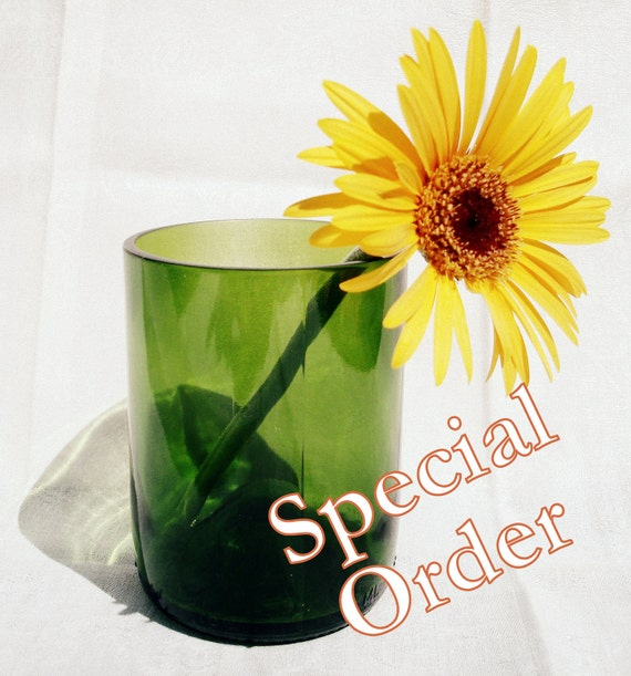 Special Order for Darktrader Clear Wine Bottle Tumblers Repurposed by Garden Daisies Studio