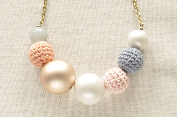 "Pretty Pastel Crochet Bead Necklace ""Sherbet"""