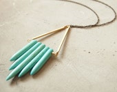 Turquoise Necklace : Summer Fashion - Tribal Turquoise Howlite Spike Necklace