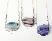 Statement Necklace : Spring Jewelry, Raw Colored Agate Necklace v2