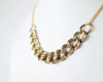 SALE Statement Necklace : Autumn Fashion Jewelry - Vintage Link Chain for Everyday