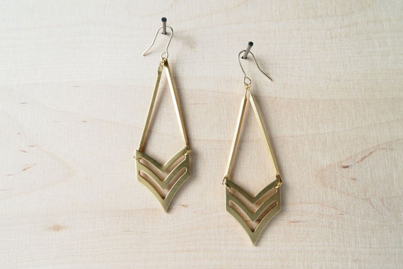 Geometric Earrings : Spring Jewlery - Chevron Drop Earrings