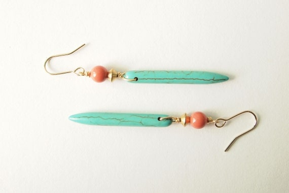 Turquoise Howlite Earrings : Howlite drop earrings with a Pop of Pink