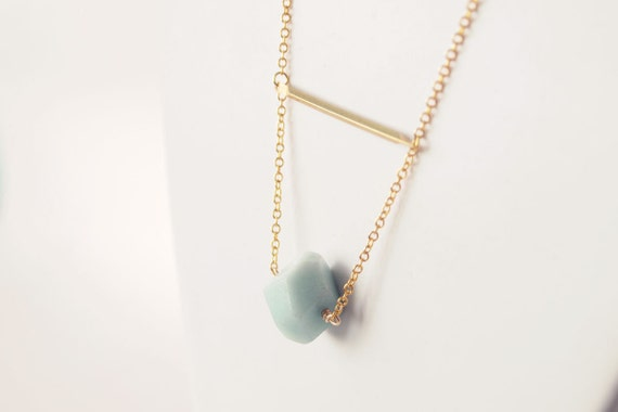 LAST FEW Delicate Everyday Necklace : Faceted Amazonite on a Brass Bar - Bridesmaid Jewelry, Gifts for her