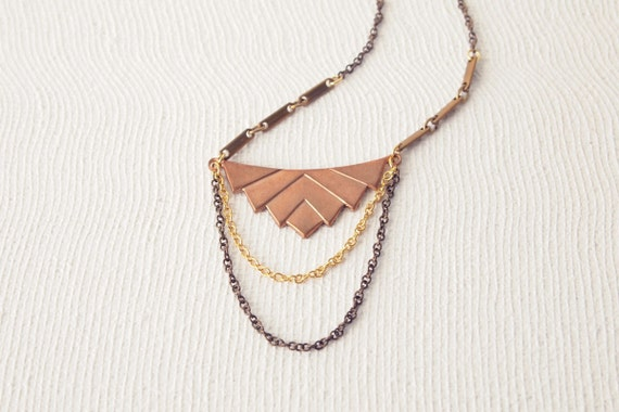 Geometric Necklace : Copper Brass Chevron Necklace with 2-tier Drape