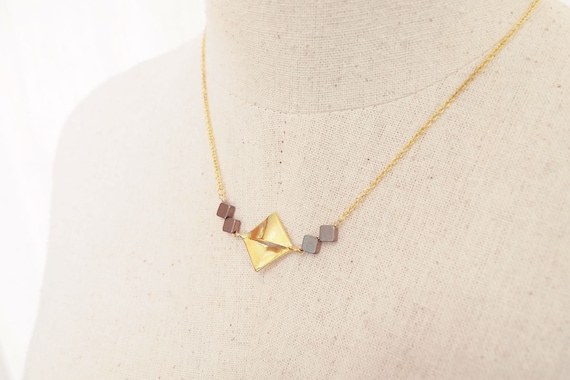 Everyday Necklace : Brass and copper squares