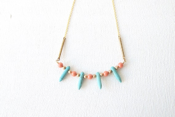 SAMPLE SALE Spike Necklace - Mini Turquoise Howlite Spikes with Pink Coral Swarovski