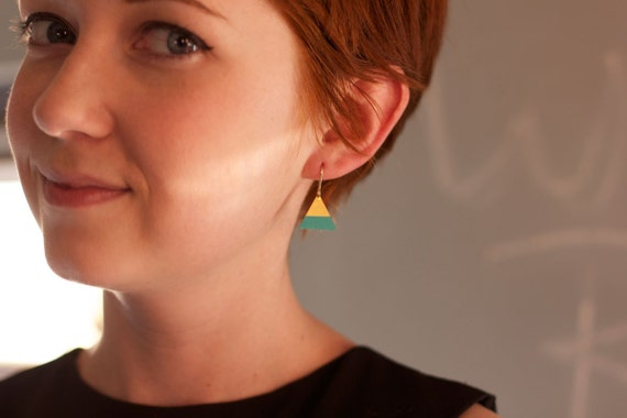 Everyday Earrings : Spring Jewelry - Painted Brass Triangle Earrings