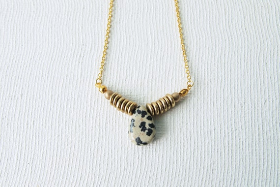 LIMITED EDITION Tribal Necklace : Single Dalmatian Jasper Tear Drop Necklace
