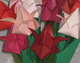 Tulips - Shades of Red - Origami Flower Arrangement