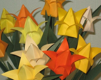 Tulips - Shades of yellow - Origami Flower Arrangement