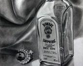 "Drawing-""Smooth Talk, Sweet Reward"" glass bottle on A3"