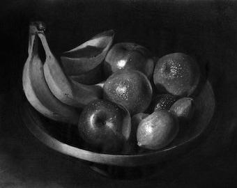 "PRINT-Drawing-Fruits In Bowl, Still Life, 11"" x 8,5"""