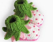"Baby booties ""Flowers Fairy Booties"" knit baby shoes baby girls booty/ size 0-3M"