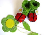 "Knitted Baby booties "" Ladybug"", hand knitted baby girls shoes"