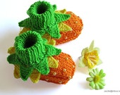 """Baby booties """"Flowers Fairy Booties"""" knit baby shoes baby girls booty"""