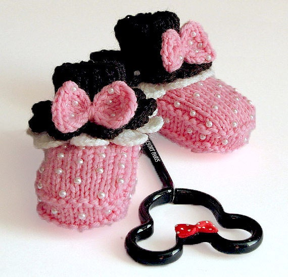 "Baby booties "" Minnie's Pink Booties"""