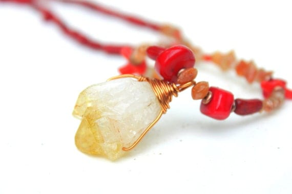 Red Coral and Sunstone Necklace with Citrine Crystal Pendant