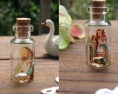 5 PCS Alice in Wonderland 35x16mm Handmade Photo Glass Tiny Bottle Vials Charms