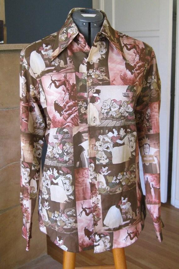 Rare 60s 70s Disney Shirt SNOW WHITE & 7 Seven Dwarves Kennington M