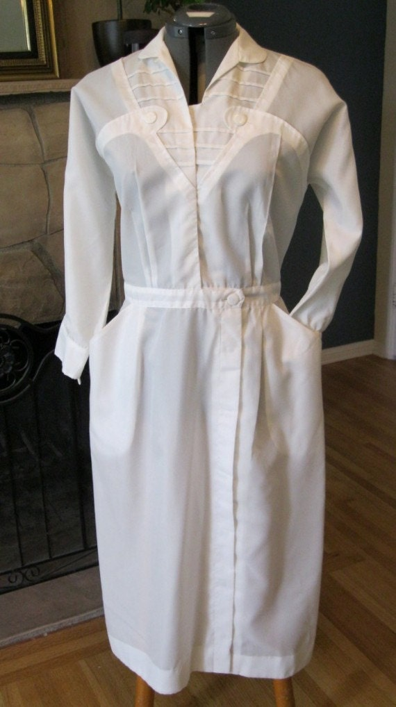 Vintage 1940s Wwii Nurse Fitted Uniform White Dacron Polyester