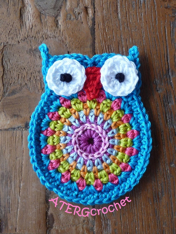 Crochet owl application 'turquoise' ..... (this is not a pattern) .....