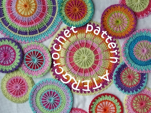 Crocheting Rows In A Circle : Crochet pattern multicolored circles by by ATERGcrochet on Etsy