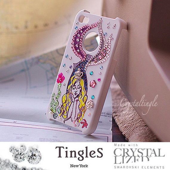 Sparkle Beautiful Hand Painted Princess Mermaid with Sparkle Crown for iPhone 4 4S Case Made with Swarovski Elements