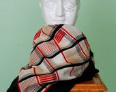 Vintage scarf, modern pattern with red, cream and black