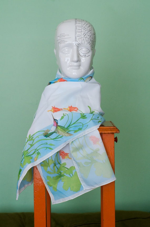 Vintage silkscreened scarf with hummingbirds and flowers