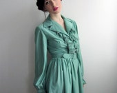 1970's Emerald Green Ruffled Dress