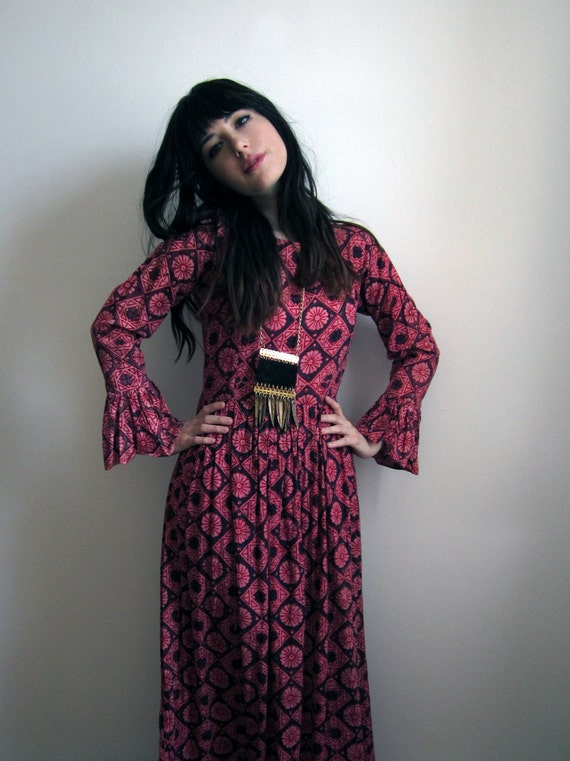 1970's Pink and Purple Maxi Dress with Bell Sleeves
