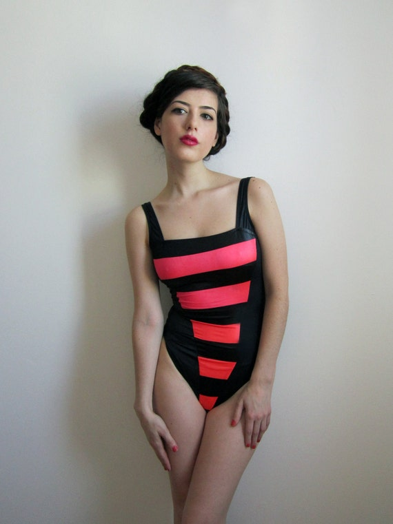80's Swimsuit / Bodysuit, Black and Neon Pink Stripes