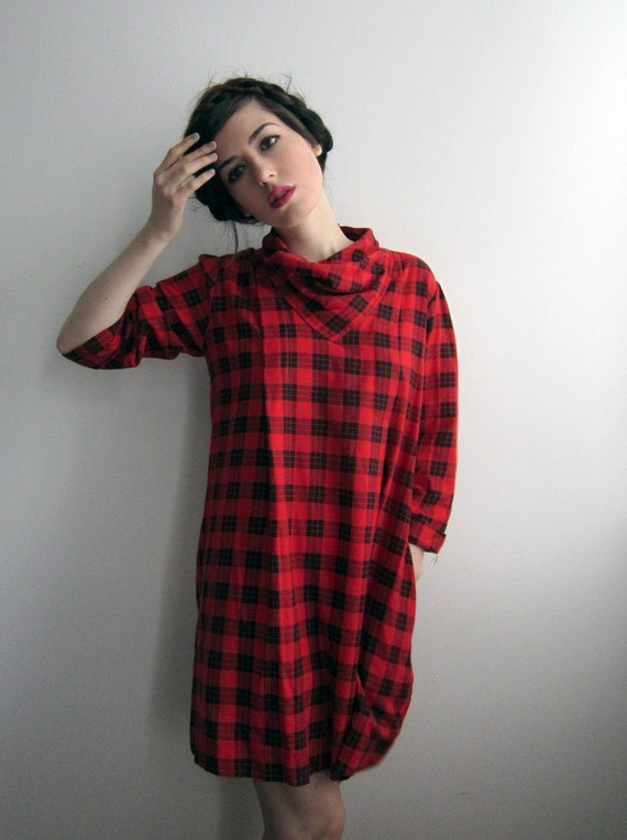 RESERVED for Jeanne - 1980's Red Plaid Dress with Pockets
