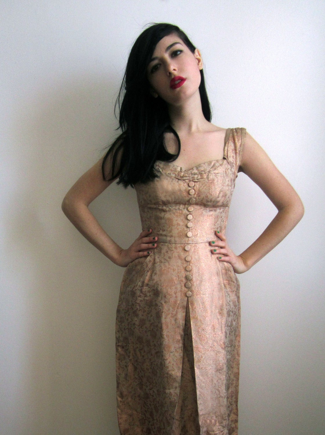 1950 S Evening Dress Pink Champagne