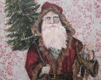 Vintage Father Christmas, Vintage Santa, Vintage Christmas, Original  Vintage Painting Print, 6 x 11 1/2 inches