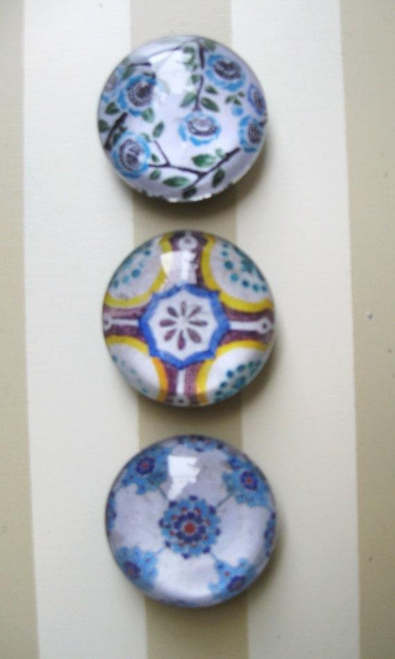 Vintage Tile Print,  Blue Patttern, Large Domed Glass Magnet, Magnet Set