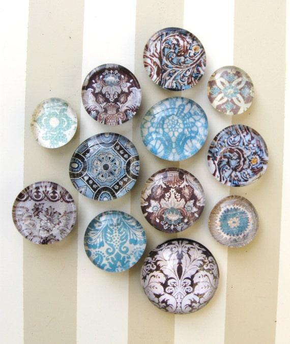 Aqua and Brown Glass Magnet Set, Home Decor, Vintage Mod Patterns Damask, Scroll Pattern