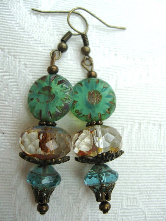 Czech Glass Aqua Picasso Finish Bead Earrings, Aqua, Sea Glass Green, Large Faceted Glass Bead, Antique Brass Earrings