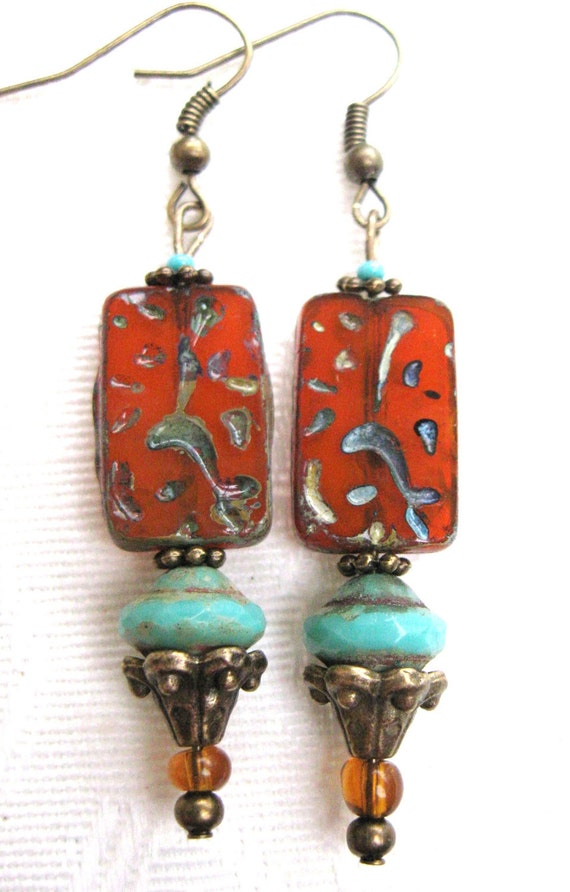 Czech Etched Glass Picasso Finish Amber Orange Bead, Aqua Czech Glass, Ornate Antique Brass, Earrings
