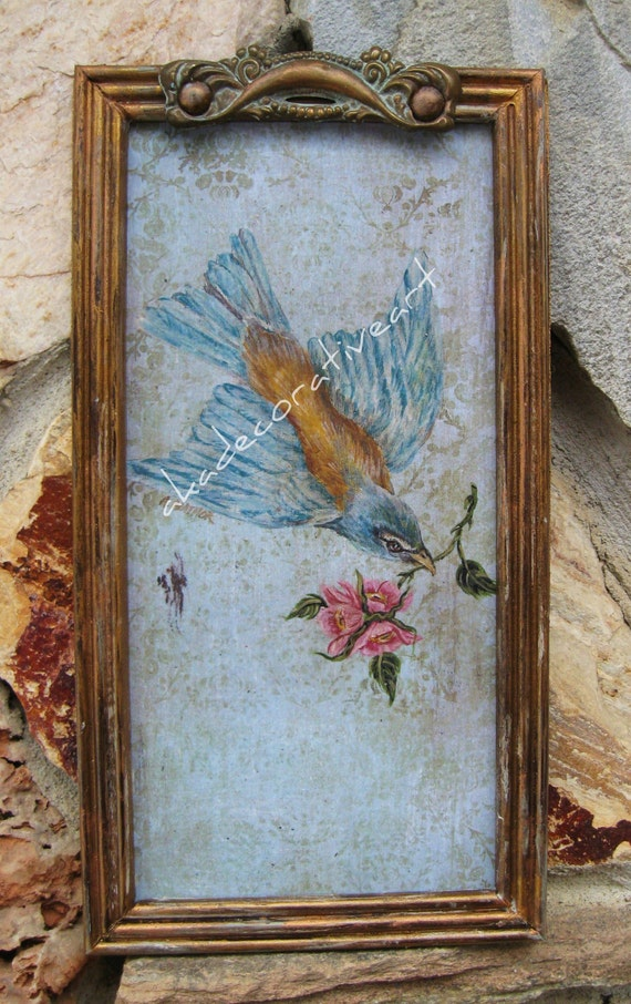 "Vintage Bird Print, Gilt Framed Bird Painting, Flying Bird Painting with Pink Roses, Cottage Style Bird Art, 6 1/8"" x 11 3/4"", Cottage Chic"