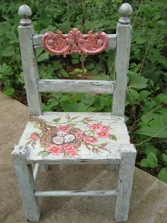 "Vintage Chair Home Decor Spring Summer Shabby Decor Bird Nest Eggs Aqua Pink Roses Repurposed Handpainted Chair 13"" High x 7"" Wide"