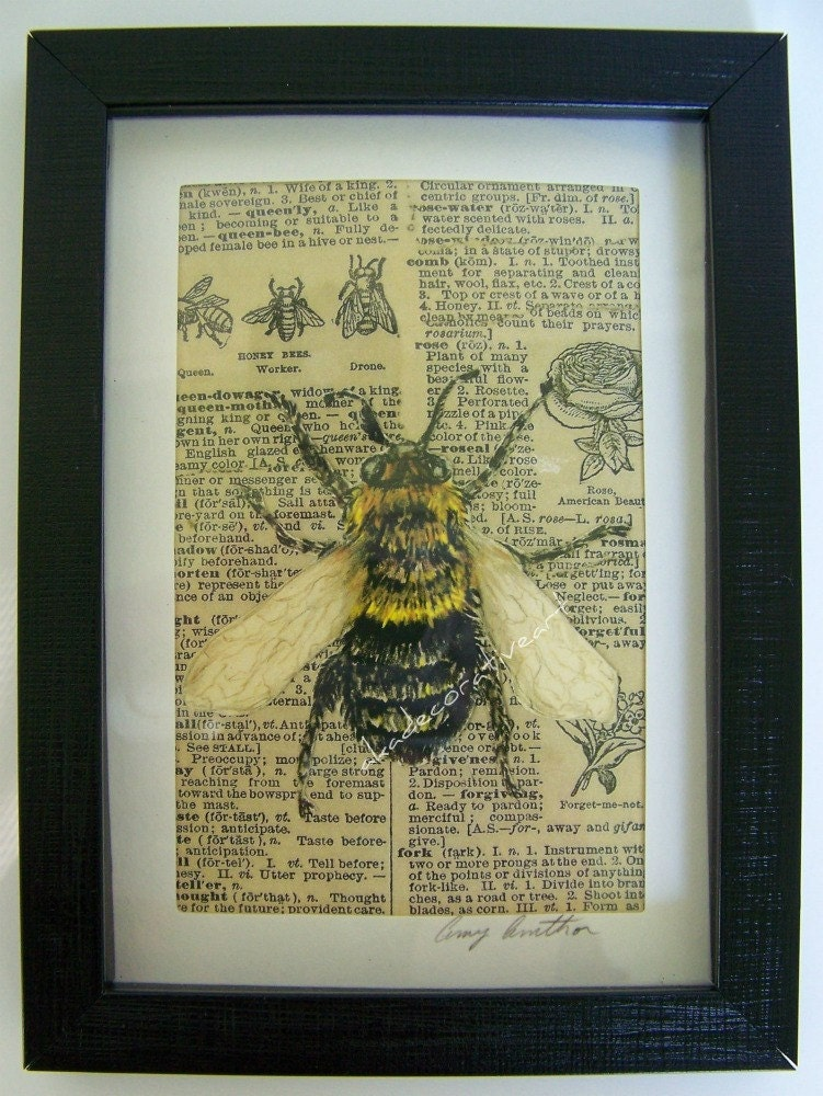 Vintage bee print home decor wall art insect by for Bee decorations for the home